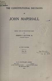 Cover of: The constitutional decisions | John Marshall