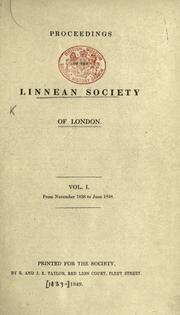 Cover of: Proceedings of the Linnean Society of London. |
