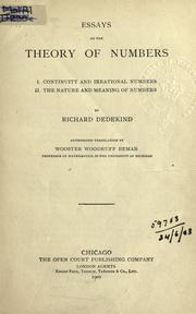 Cover of: Essays in the theory of numbers, 1. Continuity of irrational numbers, 2