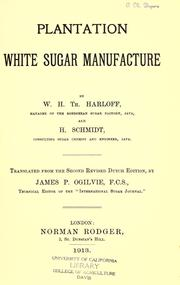 Cover of: Plantation white sugar manufacture