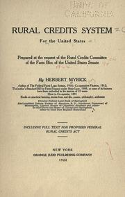 Cover of: Rural credits system for the United States