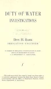 Cover of: Duty of water investigations