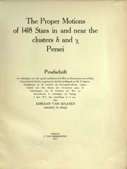 Cover of: The proper motions of 1418 stars in and near the clusters [italic h] and [Greek letter chi] Persei