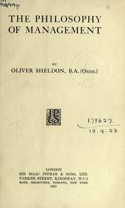 The philosophy of management by Oliver Sheldon