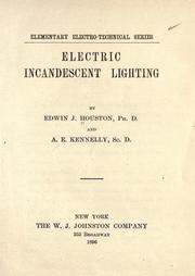 Electric incandescent lighting by Edwin J. Houston