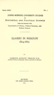 Cover of: Slavery in Missouri, 1804-1865