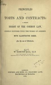 Cover of: Principles of torts and contracts