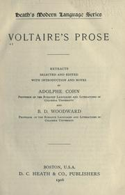 Cover of: Voltaire's prose