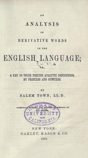 Cover of: An Analysis of derivative words in the English language
