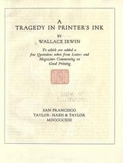 Cover of: A tragedy in printer's ink