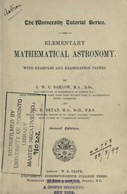 Cover of: Elementary mathematical astronomy, with examples and examination papers
