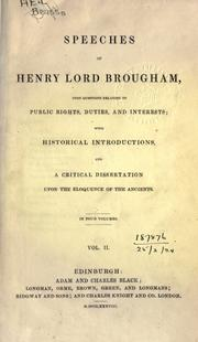 Cover of: Speeches, upon questions relating to public rights, duties, and interests