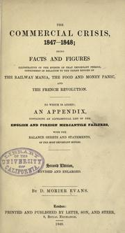 Cover of: The commercial crisis, 1847-1848 by D. Morier Evans