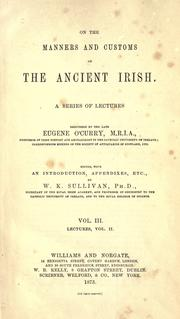 Cover of: On the manners and customs of the ancient Irish