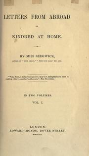 Cover of: Letters from abroad to kindred at home