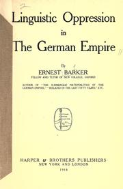 Cover of: Linguistic oppression in the German empire