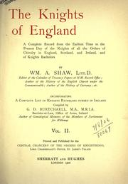 Cover of: The Knights of England. Vol I by Shaw, William Arthur