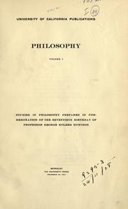 Cover of: University of California publications in philosophy