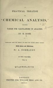 Cover of: A practical treatise of chemical analysis