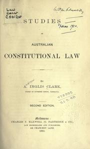 Cover of: Studies in Australian constitutional law