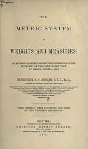 Cover of: Metric system of weights and measures