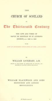 Cover of: The Church of Scotland in the thirteenth century