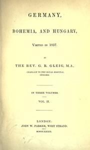 Cover of: Germany, Bohemia, and Hungary, visited in 1837