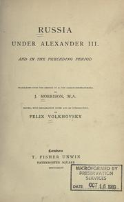 Cover of: Russia under Alexander III and in the preceding period