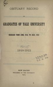 Cover of: Obituary record of the graduates of the undergraduate schools, deceased 1860-70--1950/51. by Yale University