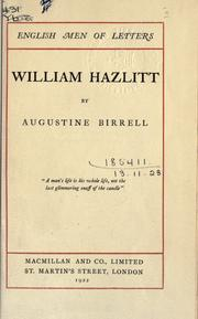 Cover of: William Hazlitt