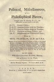 Cover of: Political, miscellaneous, and philosophical pieces