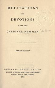 Meditations and devotions by John Henry Newman