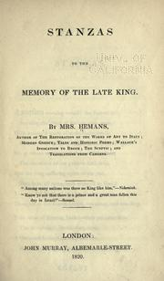 Cover of: Stanzas to the memory of the late king