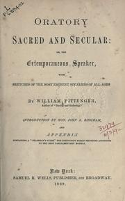 Cover of: Oratory sacred and secular