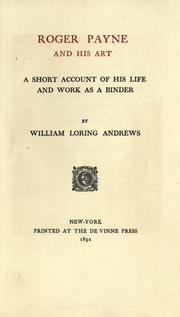 Cover of: Roger Payne and his art. by Andrews, William Loring