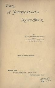 Cover of: A journalist's note-book