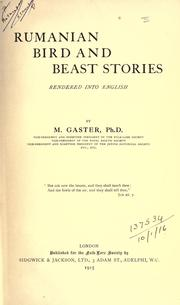 Cover of: Rumanian bird and beast stories | Moses Gaster