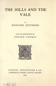 Cover of: The hills and the vale