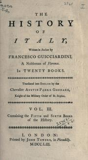 Cover of: The history of Italy written in Italian in twenty books