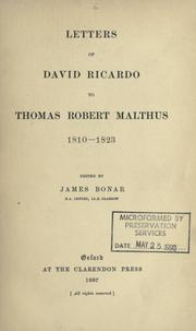 Cover of: Letters to Thomas Robert Malthus, 1810-1823