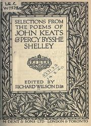 Cover of: Selections from the poems of John Keats and Percy Bysshe Shelley