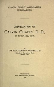 Cover of: Appreciation of Calvin Chapin, D. D., of Rocky Hill, Conn