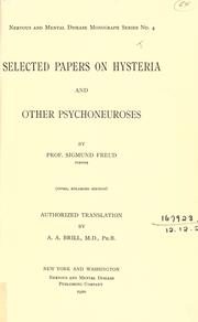 Cover of: Selected papers on hysteria and other psychoneuroses