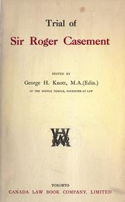 Cover of: Trial of Sir Roger Casement