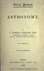 Cover of: Astronomy | Lockyer Sir Joseph Norman