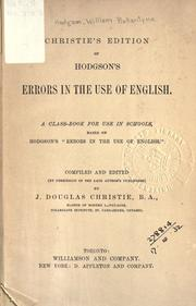Cover of: Errors in the use of English