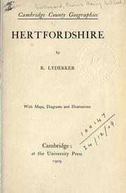 Cover of: Hertfordshire: by R. Lydekker.