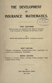 Cover of: The development of insurance mathematics