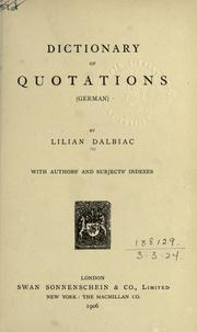 Cover of: Dictionary of quotations (German)  With authors' and subjects' indexes