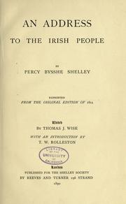 Cover of: An address to the Irish people by Percy Bysshe Shelley